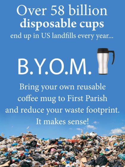 poster asking people to bring their own coffee mug
