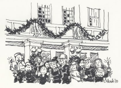 Garlands festoon the balcony above carolers.