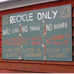 Sign indicating what can be recycled