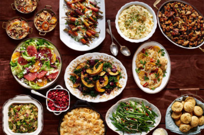 Thanksgiving side dishes, green beans, squash, rice, vegetables casseroles