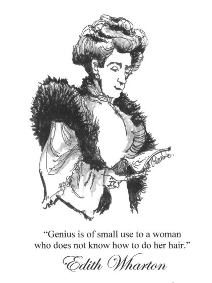 sketch of Edith Wharton and quote