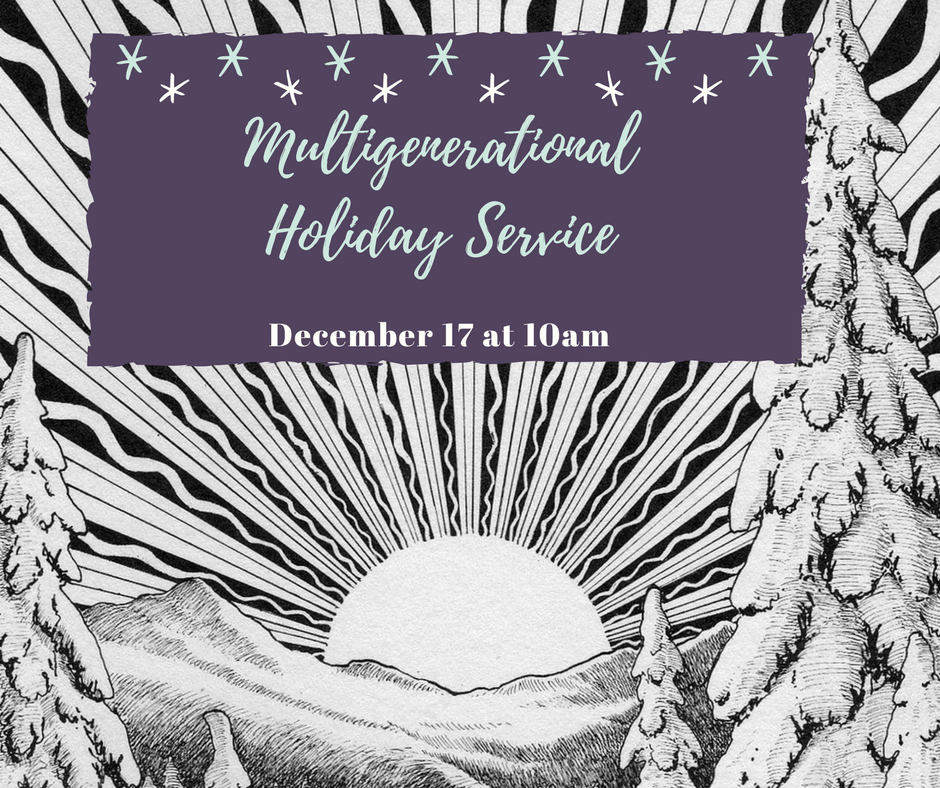 Multigenerational Holiday Service with image of sun radiating from top of mountains
