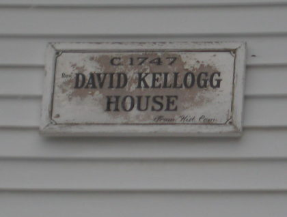 Historic sign indicating house built by Rev. Kellogg