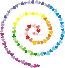spiral of rainbow colored hearts